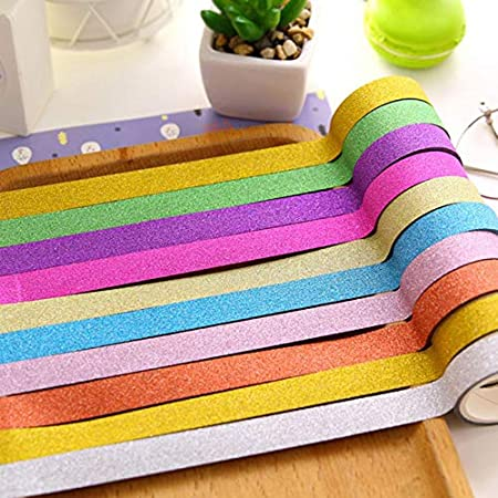 Enterrific 5pcs//10pcs Glitter Sticky Paper Masking Adhesive Tape Label Printing DIY Scrapbooking Decor Crafts