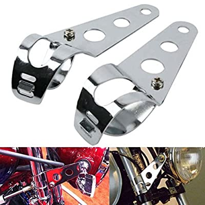 2pcs Motorcycle Accessories, Universal Motorcycle Headlight Aluminium Alloy Mounting Brackets - Product Color: Black/Silver - Product Size: 31-39mm(S)/38-51mm(L);