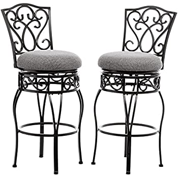 Classic Scroll Black Metal 30 inch Curved Back Bar Stools Bar Height with Back Swivel and  sc 1 st  Amazon.com & Amazon.com: Impacterra QLCR21926465444 Carmel Swivel Barstool 30 ... islam-shia.org