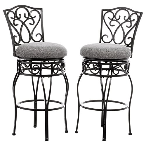 Classic Scroll Black Metal 30 inch Curved Back Bar Stools Bar Height with Back Swivel and Black and Tan Fabric Seat (Set of 2) - Includes Modhaus Living Pen - Wrought Iron Kitchen Bar Stools