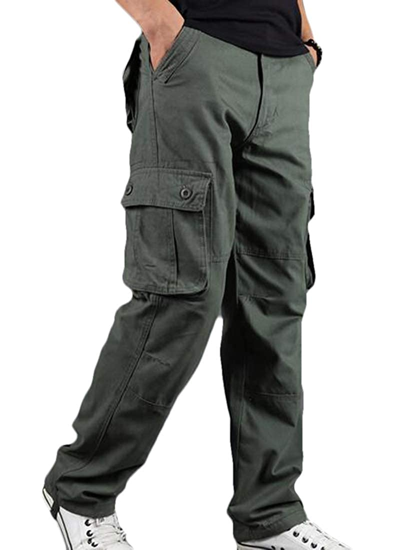 UUYUK Men Over Sized Multi-Pocket Baggy Casual Washed Straight Fit Cargo Pants