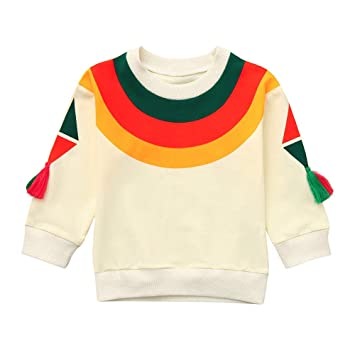 ee3884816 Amazon.com: Nice Girl Boys Sweatershirt Long Sleeve Rainbow Tassel Pullover  Shirt Tops Toddler Infant Baby Casual Clothes Outfit (Ages:18-24 Months, ...