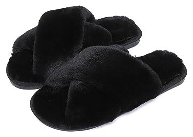 cf0383de30b FreLO Women Plush Crossed Upper Fluffy Slippers Cute Slippers (4