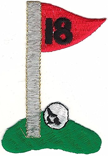 18 Hole Golf Ball Flag Green Embroidery Patch - Golf Flag Embroidery