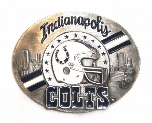 (INDIANAPOLIS COLTS COMMEMORATIVE NFL FOOTBALL Belt Buckle - PEWTER; MADE IN USA)