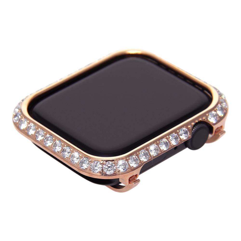 Callancity Metal Rhinestone Crystal Bezel Case 3.0 Big Diamond Jewelry Bezel Case face Cover Compatible 40mm Apple Watch Series 4 (Rose Gold)