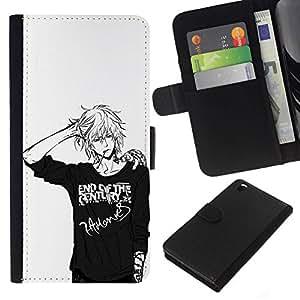 All Phone Most Case / Oferta Especial Cáscara Funda de cuero Monedero Cubierta de proteccion Caso / Wallet Case for HTC DESIRE 816 // Japanese Anime Black White Guy