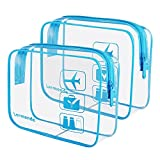 2pcs/pack Lermende Clear Toiletry Bag TSA Approved Travel Carry On Airport Airline Compliant Bag Quart Sized 3-1-1 Kit Luggage Pouch (Blue)