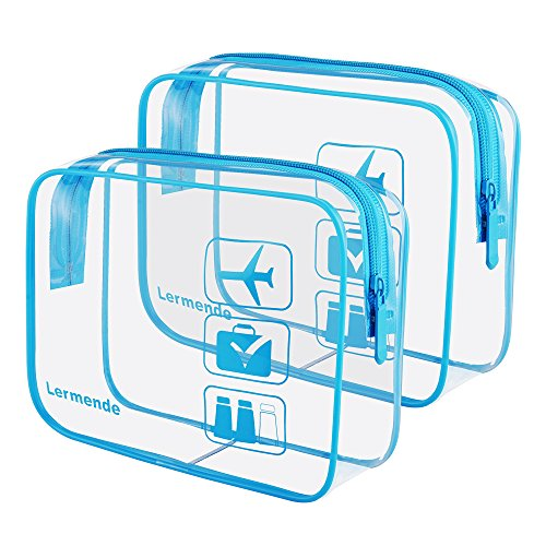 - 2pcs/pack Lermende Clear Toiletry Bag TSA Approved Travel Carry On Airport Airline Compliant Bag Quart Sized 3-1-1 Kit Luggage Pouch (Blue)