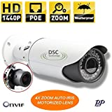 4MP H.265/H.264 IP Bullet Security Camera 2592x1520, Motorized Auto-Focus 2.8-12mm Lens, PoE, 42x IR LEDs, Weatherproof, ONVIF 2.4, Support Mobile View, Mac/Windows PC Viewing