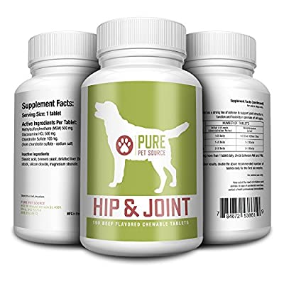 Best Dog Joint Supplement - Protect Your Dogs Hips With This Dog Hip Supplement - Strongest Formula Available Plus MSM - Beef Flavored So Your Dog Will Love It - 100% - Love It Or It's Free! from Pure Pet