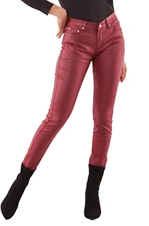 6acad030df01 Crazy Lover Women s stretch Leather look Jeans Trousers Slim Skinny Dark  Red Sizes UK 6-