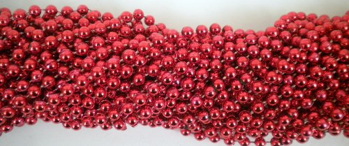 - 33 inch 07mm Round Metallic Red Mardi Gras Beads - 6 Dozen (72 necklaces)
