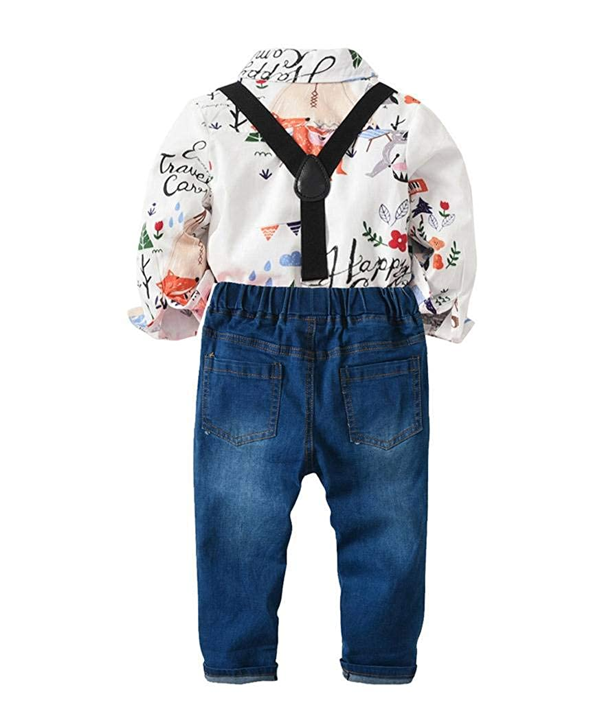 JANYN Baby Boy Relaxed fit Outfits Plaid Cartoon Printing Shirt and Pants Sets