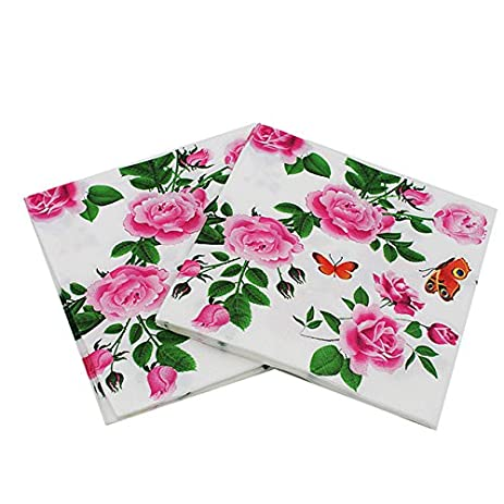Amazon floral paper napkins flower festive party tissue floral paper napkins flower festive party tissue napkins decoupage decoration paper 33cm33cm 20pcspacklot mightylinksfo
