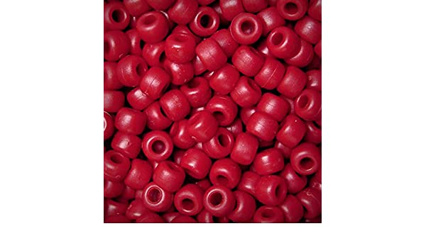 Flat Red 9x6mm Pony Beads made in USA 500pc for school kids VBS crafts jewelry