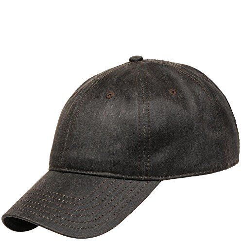 Wilsons Leather Mens Waxed Cotton Baseball Hat Charcoal Grey