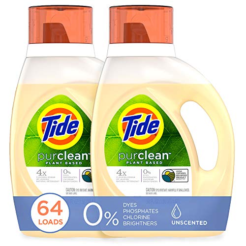 Tide Purclean Plant-Based Laundry Detergent Liquid, Unscented, HE Compatible, 50 oz, Pack of 2, 64 Loads Total (Packaging May Vary)