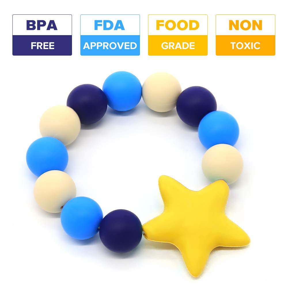 Yellow YuanSen Vizbrite Silicone Teether Bracelet Food-Grade Silicone Teething Ring Baby toys BPA-Free