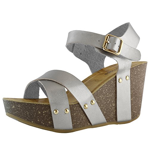 DailyShoes Women's women's women's Platform Wedge Sandals Slide On Comfort Thick Cork Board Criss Cross Sandal Buckle Shoes, Silver PU, 5.5 B(M) US