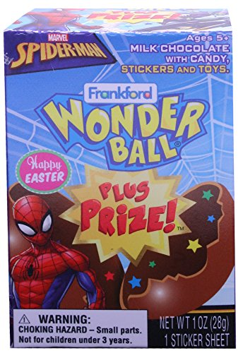 Frankford Candy Company Spider Man Wonder Ball Plus Prize Easter, Milk Chocolate, 1.00 Ounce -
