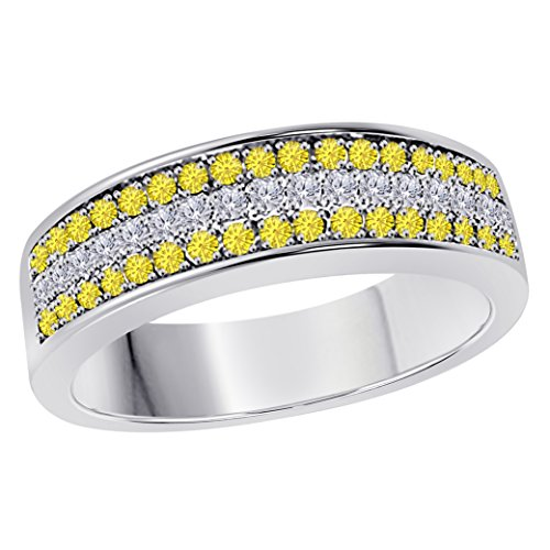 6MM 14K White Gold Finish .925 Silver 0.50CT Yellow Sapphire & White Cz Diamond Ring 3 Row Pave Half Eternity Men's Wedding Band Ring Size All Available by Jewelryhub