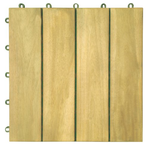 Plantation Teak Deck (VIFAH V488 Interlocking Acacia Plantation Hardwood Deck Tile 4-Slat Style, 10-Pack, Teak Finish, 12 by 12 by 1-Inch)
