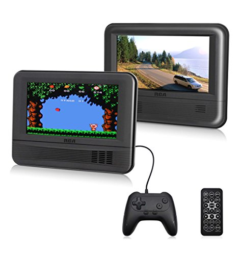 "RCA (DRC69705E28G) – 7"" Dual Screen Mobile DVD Player System & Game Pad – Set of Two 7-Inch Screens, (6-Piece Kit)"