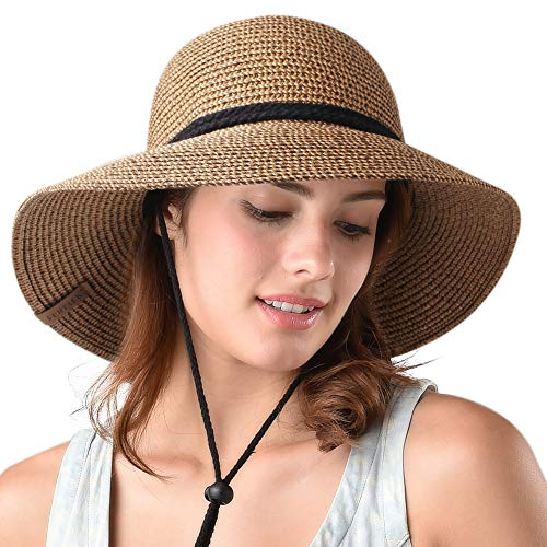 Womens Wide Brim Sun Hat with Wind Lanyard UPF 50 Summer Sun Straw Hats for Women Brown