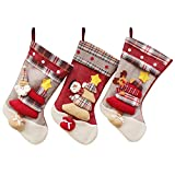 "Classic Christmas Stockings, Timodecor 18"" Big Size 3D Plush Xmas Craft Socks Santa Snowman Reindeer Character Decorations for Christmas"