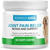 Boswellia Plus Glucosamine Joint Supplement for Dogs – 60 Soft Chews with Boswellia Serrata, Green Lipped Mussel, Hyaluronic Acid, Grape Seed Extract, Turmeric & MSM - K9 Joint Pain Relief & Support