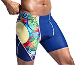 Fiery Love Men's Jammer Swimsuit Endurance Swim Trunks Quick Dry Black Blue XL