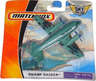 "2008 Matchbox Sky Busters SWAMP RAIDER MBX METAL 11 OF 36 (green, croc adventure) 4"" die-cast plane"