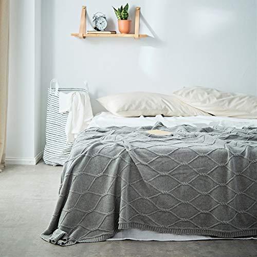 Yunyilian ソリッドカラーニットリビングルームのソファーオフィスカジュアル仮眠ツイストベッドタオル (Color : ライトグレー, サイズ : 130*180m) B07RKWWQTF ライトグレー 130*180m