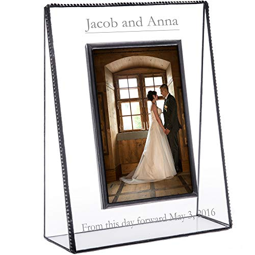 J Devlin Pic 319 EP 548 Series Personalized Wedding, Anniversary, Engagement Picture Frame - Clear Engraved Glass - Available in Multiple Photo Sizes (4x6 Vertical)