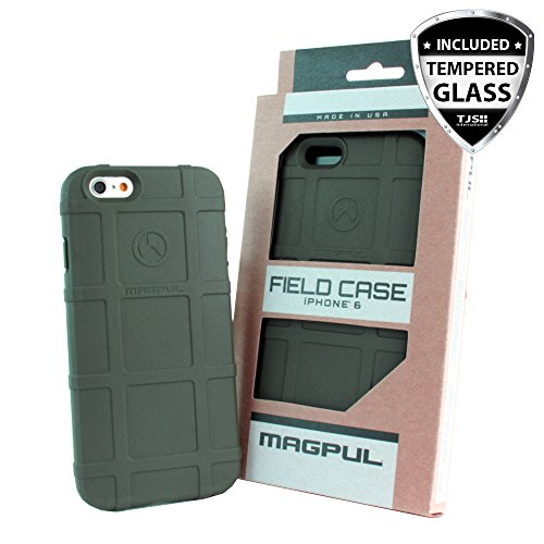 iPhone 6/6S 4.7 Case, Magpul [Field] Polymer Case Cover MAG484 Retail Packaging for Apple iPhone 6/6S 4.7 + TJS Tempered Glass Screen Protector (Green)