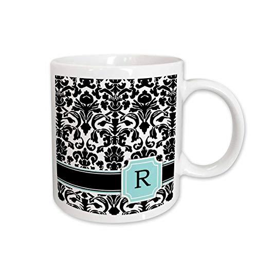- 3dRose 154367_1 Letter R personal monogrammed mint blue black and white damask pattern Mug, 11 oz,