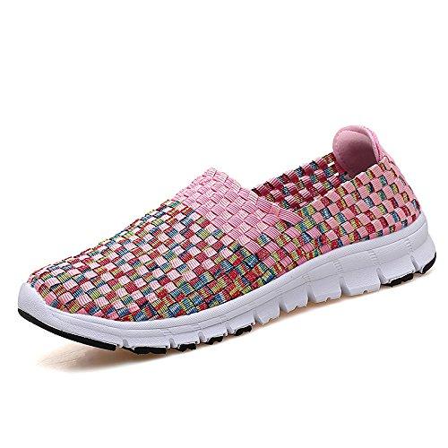 nuevos Fondo Transpirable Casuales Pink Mediana Hasag Antideslizante Edad de Femeninos Edad de Zapatos Suave Deportivos Tela de Verano Zapatos y Zapatos q6ZCFd