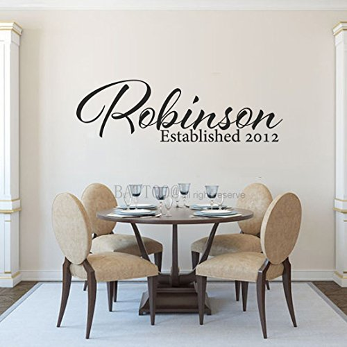 BATTOO Family Name Wall Decal Personalized Family Wall Decal Last Name Wall Decal Family Established Vinyl Wall Decal Family Vinyl Lettering PLUS free hello door decal