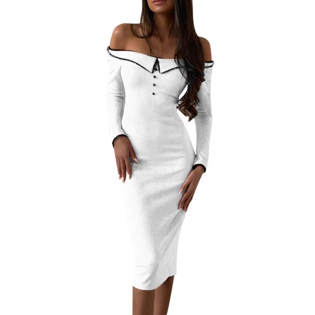 TRENDINAO Pencil Dress,Off Shoulder Split Button Women Bodycon Solid Long Sleeve Maxi Dresses for Special Occasions White by TRENDINAO