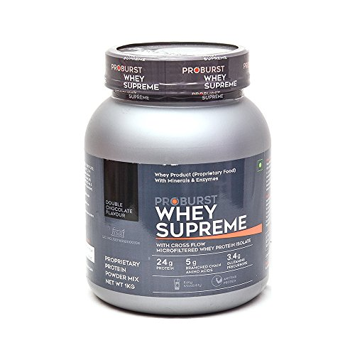 Proburst Whey Supreme - 1kg (Double Chocolate) with Free Cyclone Shaker