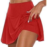 Heyeam Yoga Shorts Women Athletic Pleated Tennis Golf Skirt with Shorts Workout Running Skort