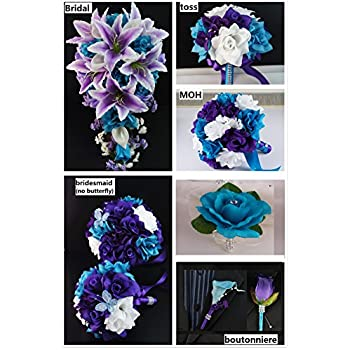 Amazon.com: Wedding Flower Package - 13pc Jade (light teal) and ...