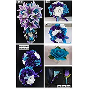 Angel Isabella Silk Flower Wedding Package:6 Bouquets,6 Boutonneires,2corsages 78