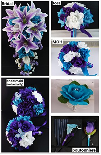 Silk Flower Wedding Package:6 Bouquets,6 Boutonneires,2corsages by Angel Isabella