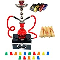 "Zebra Smoke Starter Series: 18"" 2 Hose Hookah Combo Kit Set w/ Instant Charcoal (Like Three Kings Charcoal), Hydro Herbal Molasses(like Blue Mist), and Hookah Mouth Tips Smokes More Then Hookah Pen And CASE (RED)"