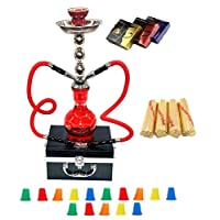 """Zebra Smoke Starter Series: 18"""" 2 Hose Hookah Combo Kit Set w/ Instant Charcoal (Like Three Kings Charcoal), Hydro Herbal Molasses(like Blue Mist), and Hookah Mouth Tips Smokes More Then Hookah Pen And CASE (RED)"""