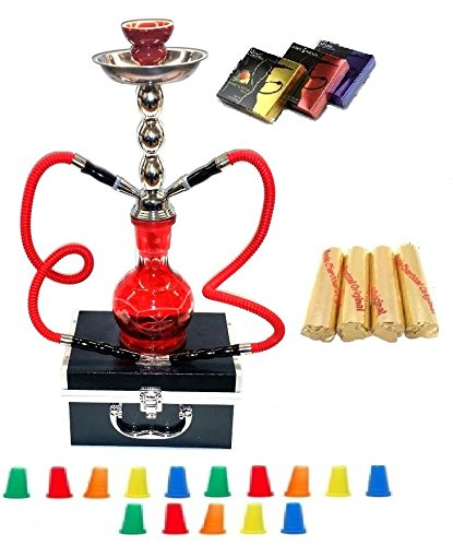 Zebra Smoke Starter Series: 18 2 Hose Hookah Combo Kit Set w/ Instant Charcoal (Like Three Kings Charcoal), Hydro Herbal Molasses(like Blue Mist), and Hookah Mouth Tips Smokes More Then Hookah Pen And CASE (RED)
