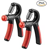 Fit Simplify 2 Pack Hand Grip Strengthener Strength Trainer - Arm Hand Exerciser Adjustable Resistance 22-88 Lbs - Non-slip Gripper for Athletes, Pianists and Musicians