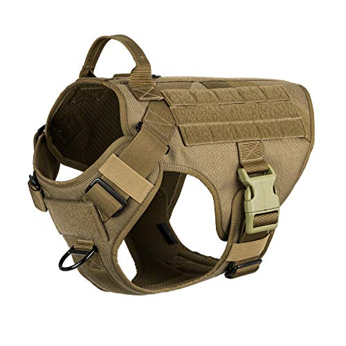 ICEFANG Lightweighting Tactical Dog Harness with Handle,K9 Working Training Molle Vest,No-Pull Front Clip, Hook and Loop Panel for Dog ID Personalized Badge Patch (L(Chest 28'-35'), Coyote Brown)